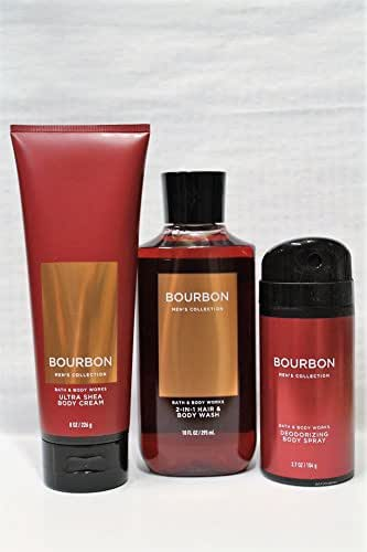 Bath & Body Works Bourbon - Ultra Shea Body Cream 8 oz, 2-in-1 Hair + Body Wash 10 oz & Deodorizing Body Spray 3.7 oz - Set