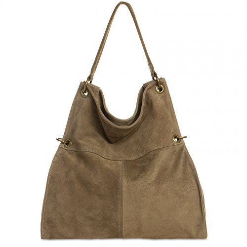 CASPAR TL757 Women Suede Shoulder Bag Khaki