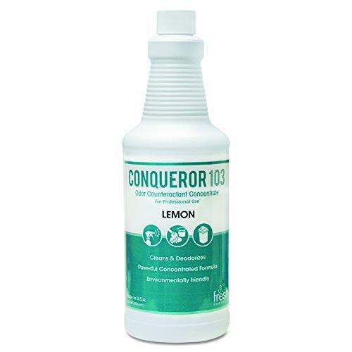 103 Odor Counteractant Concentrate Lemon (Fresh Products 1232WBLECT Conqueror 103 Odor Counteractant Concentrate, Lemon, 32oz Bottle (Case of 12))