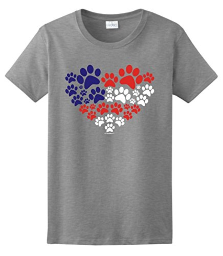 Animal Lover Cat Dog Paw Prints Heart USA Flag Ladies T-Shirt Small SpGry