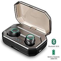 Auricolari Bluetooth 5.0, Vigorun Cuffie Wireless Senza Fili Sportivi 3000mAh Custodia da Ricarica 100h Auricolare Stereo IPX6 CVC 8.0 Cancellazione Rumore e Microfono per iPhone Samsung iPad Huawei…