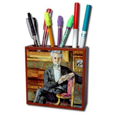 Victor Chocquet Seated Portrait By Paul Cezanne Pencil Holder