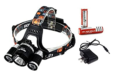 BestFire® Waterproof Super Bright 3 x Cree XM-L T6 4 Modes 5000 Lumens Headlamp Rechargeable with Adjustable Base Cree LED Headlight Headlamp Bicycle Light for Running Cycling Travelling Camping Hiking Fishing etc. (Headlamp with Batteries)