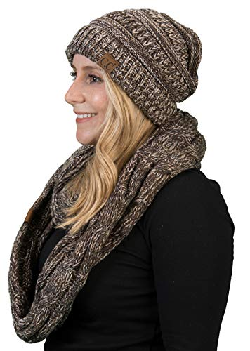 (aHS-6800-816.07 Regular Slouchy Beanie Matching Scarf Set Bundle - Brown 4#21)