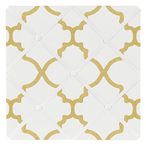 Sweet Jojo Designs White and Gold Trellis Print Lattice Fabric Memory/Memo Photo Bulletin - Pink Framed Ribbon