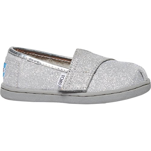 TOMS Kids Unisex Seasonal Classics (Infant/Toddler/Little Kid) Silver Glimmer Loafer 9 Toddler (Silver Toms For Toddlers)