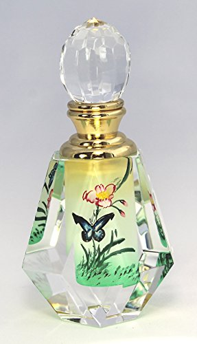 - Blue Butterfly Art Glass Collectible Crystal Perfume Bottle - PBD04-692
