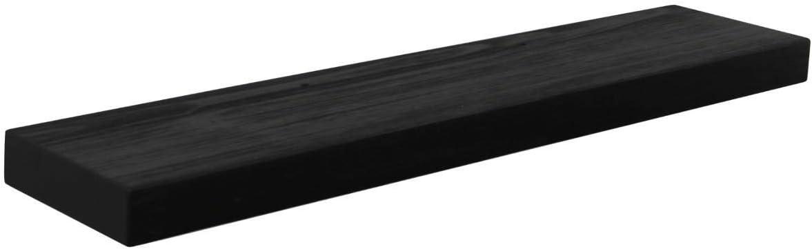 Joel s Antiques, Basic Black, 60 x 8 Deep x 2 Thick, Rustic Floating Mantel, Shelf, USA Handmade, Ebony Matte Clear Coat Finish, Patented Hidden Floating Shelf Bracket