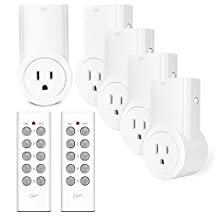 Etekcity Programmable Wireless Remote Control Power Outlet On/Off Switch Learning Code 5Rx-2Tx, White