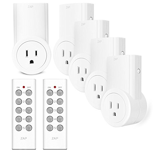 Etekcity Wireless Remote Control Electrical Outlet Switch for Household Appliances, White (Learning Code, 5Rx-2Tx)