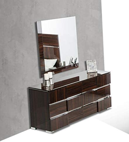 Limari Home Cosme Collection Modern Style Lacquer Bedroom 6 Drawer Dresser Mirror Set With Silver Accents Metal Feet Ebony