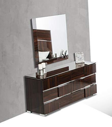 Limari Home LIM-74978 Cosme Collection Modern Style Lacquer Bedroom 6 Drawer Dresser & Mirror Set with Silver Accents & Metal Feet Ebony