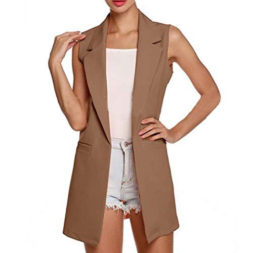 Elegante Autunno Puro Bavero Anteriori Moda Colore Costume Outerwear Donna Hellbraun Ovest Smanicato Di Confortevole Coat Gilet Tasche 0qCnEw