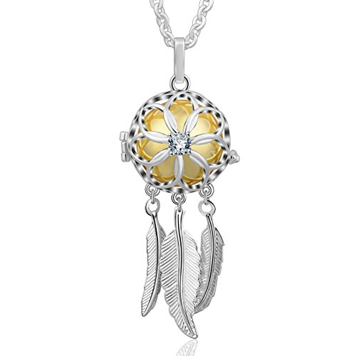 AEONSLOVE Good Luck Dream Catcher Feather Harmony Ball Angel Chime Bell Pendant Long Chain Necklace, Jewelry Gift for Women Girls