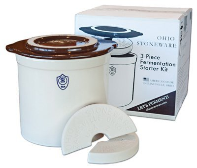 OHIO STONEWARE 12065 Crock Set2gl 3pc Brn/Wht 1 Bristol