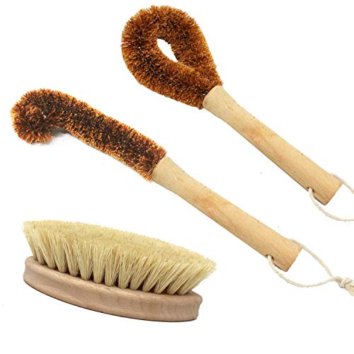 Jalousie 3 Pack Kitchen Wooden Brush Set Dish Brush Cast Iron Scrubber and Cup Brush Cleaning Supply Vegetable Brush – Made of Biodegradable Wood, Sisal, and Hemp Palm Fiber