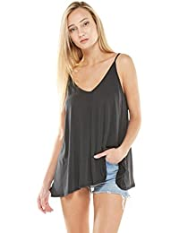 Womens Casual Cupro V-Neck Flowy Cami Strap Tank Top