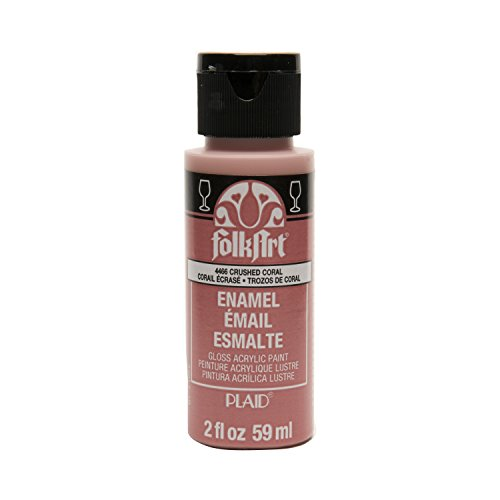 FolkArt Enamel Glass & Ceramic Paint in Assorted Colors (2 oz), 4466, Crushed Coral