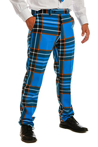 [The Highlander Blue Paid Men's Suit by OppoSuits - Individual Jacket, Pants, or Tie] (Morph Suit Costumes Ideas)