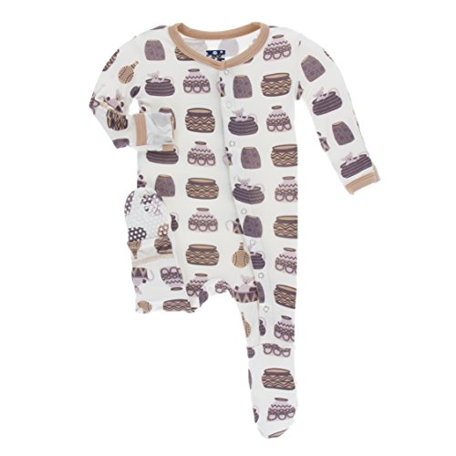 Kickee Pants Little Girls and Boys Print Footie with Snaps - Natural Bush Baby, 6-9 Months