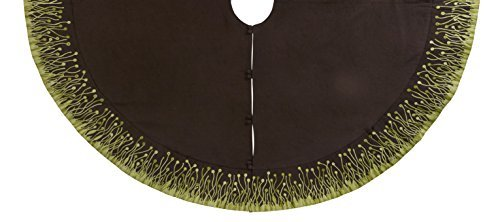 Arcadia Home TL2C Flora Design Christmas Tree Skirt in Linen, Brown/Green by Arcadia Home (Image #1)