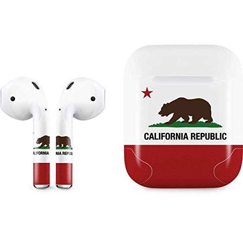 Skinit California Republic Apple AirPods Skin - Original Skinit Studios Designed Audio Sticker - Thin, Case Decal Protective Wrap for Apple AirPods Gen 1