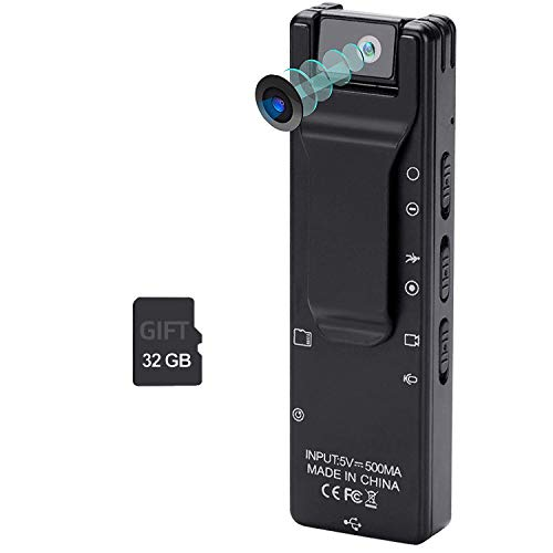 Mini Body Camera 1080P Full HD Portable Camera with Pocket Clip Wearable Camera Video Recorder Small Sport DV DVR Dash Camera, with Thermal Induction Recording, 32G TF Card Included