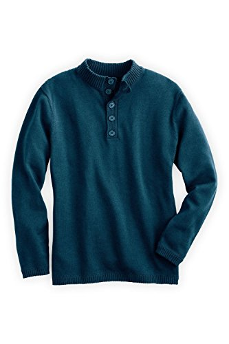 Fair Indigo Fair Trade Organic Men's Button Pullover Sweater (M, Deep Teal) by Fair Indigo