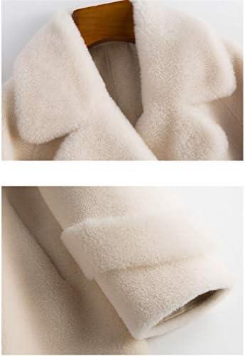 Cappotto Corto da Donna con Risvolto A Orsacchiotto Cappotto di Lana da Donna Cappotto in Pelliccia Sintetica Caldo Giacche Invernali,Bianca,XL
