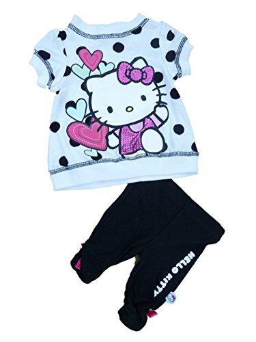 Hello Kitty Infant Girls Black & White Polka Dot 2 Piece Legging Pant Outfit NB