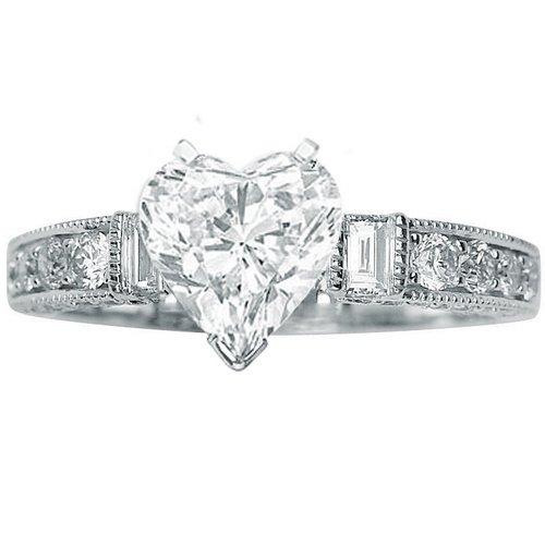 1.59 Carat Heart Cut / Shape 14K White Gold Gorgeous Prong Set Round And Half Bezel Baguette Diamond Engagement Ring ( J Color , SI2 Clarity ) - Size 10
