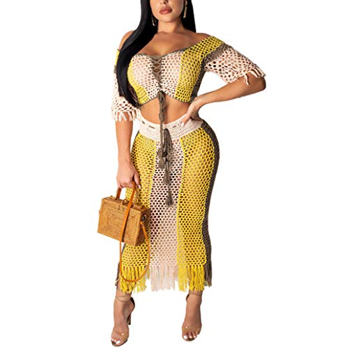 - Women Two Piece Skirt Set - Tassel Hollow Out Off Shoulder High Split Cover Up Bikini Beach Dresses (Yellow, XL)