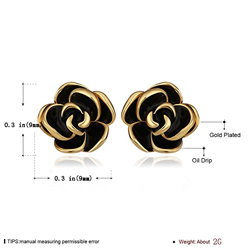 7a17e41d4 18K White Gold Yelow Gold Plated Stud Earrings,Hollowed Black Rose Flower/Butterfly  CZ