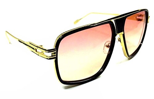 Gazelle Tycoon Aviator Sunglasses w/ Gradient Oceanic Color Lenses (Black & Gold, Peach - Gradient Aviator