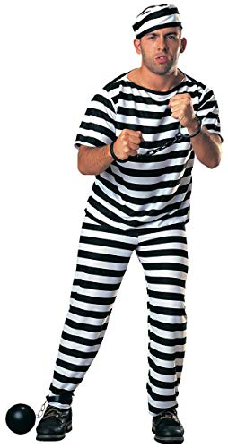 Deluxe Prisoner Costume Adult | Includes Accessories Shackles and Ball & Chain Black, White