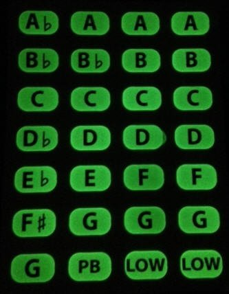 Glow-in-the-dark Key Labels (for Harmonica)