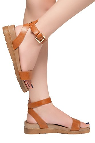 Needed Buckle Comfortable Herstyle Tan Wedge Me Heel Fashion Shoes Strap Sandals Ankle Women's Low Platform pYASfq