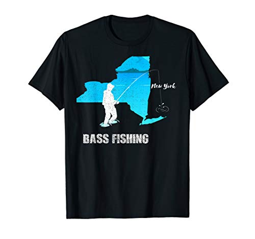 - New York Bass Fishing T-Shirt Large Small Mouth Fisherman