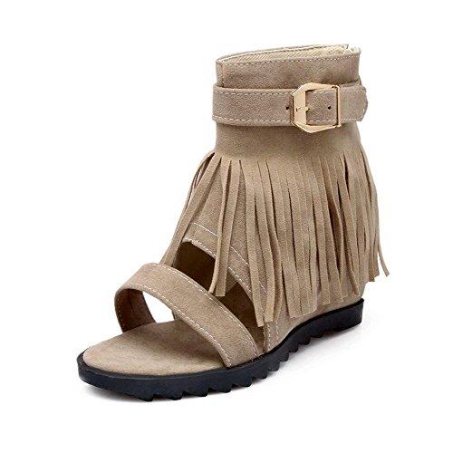 AllhqFashion Women's Imitated Suede Solid Zipper Open Toe Kitten Heels Sandals Beige