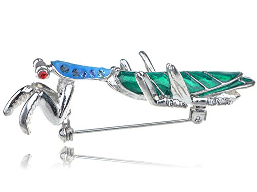 Praying Mantis Costume For Sale (Alilang Silvery Tone Ombre Blue Rhinestones Long Praying Mantis Insect Bug Brooch Pin)