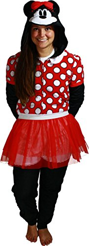 Disney Women's Minnie Mouse Union Suit, Classic Red, (Red Union Suit Halloween Costume)