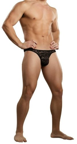 Male Power Bone Thong Stretch Black Lace