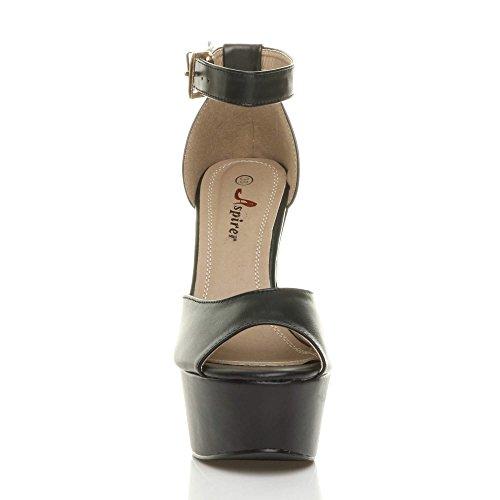 alto festa tacco taglia Nero piattaforma elegante sandali aperta Opaco punta Donna scarpe 65Sn0dqw6