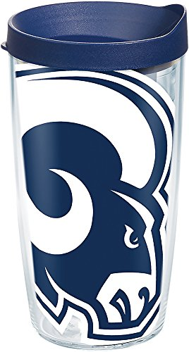 Tervis 1270884 NFL Los Angeles Rams Colossal Tumbler with Wrap and Navy Lid 16oz, Clear ()