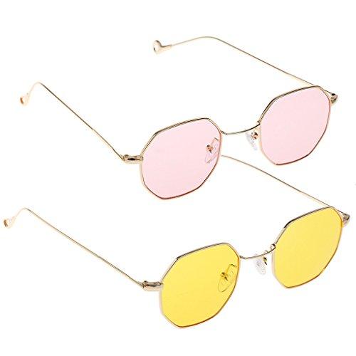 MagiDeal 2pc Retro Mirrored Designer Octagon Sunglasses Flat Lens Eye Glasses - Octagon Eyeglasses