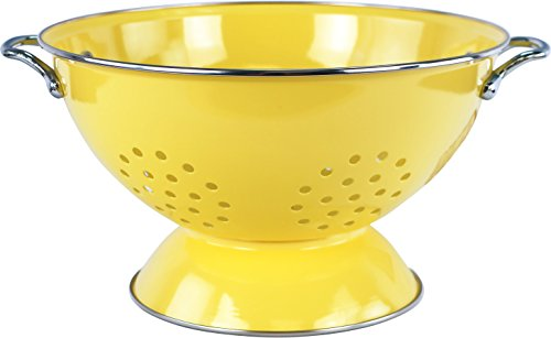Calypso Basics by Reston Lloyd Powder Coated Enameled Colander, 5 Quart, Lemon (Yellow Finish Enamel)