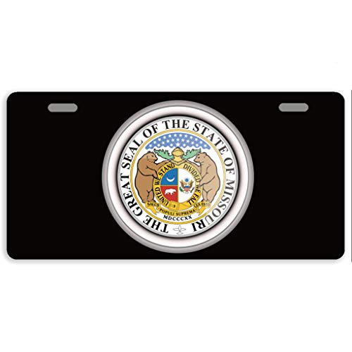 - offtggh License Plate Cover States of USA Seals Missouri Automotive License Plate Novelty Car Tag Metal Decorative Tags Auto Sign Front License Plates 2 Holes 11.8 X 6.1 Inches