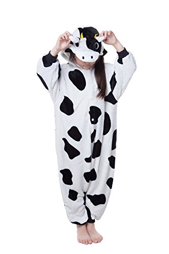 NEWCOSPLAY Unisex Children Cow Pyjamas Halloween Kids Costume (85, Cow) - Cow Child Costume