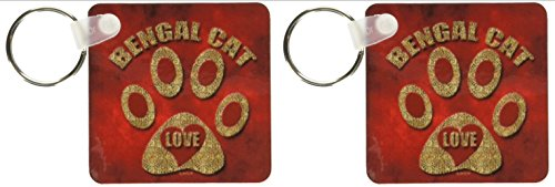 3dRose Bengal Cat Love Cat Breed in Cheetah Print and Red Key Chains, Set of 2 (kc_21994_1)