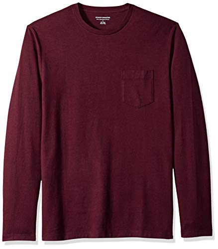 Amazon Essentials Men's Slim-Fit Long-Sleeve Pocket T-Shirt, Burgundy, Large ()